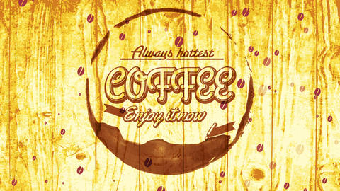 coffee shop advert mockup with fashionable collective idea with script indoor round spot on wooden Animation