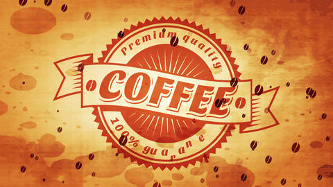 antique 100 rate secured quality coffee curve wrinkled boundary symbol certified on worn splattered Animation