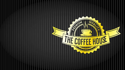 rich fancy value coffee symbol on dark lined background for cafe mansion feed coffee speciality Animation