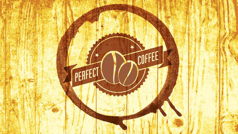 breakfast drink contemporary art with round coffee cup stain on wooden table background for Animation