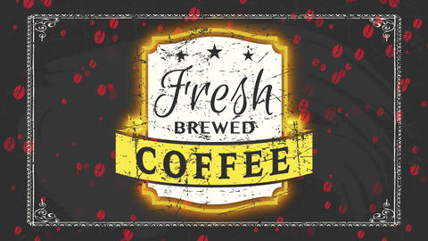 coffee store grunge fancy mark for fresh brewed beverage with classical letters on blackboard scene Animation