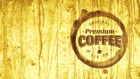 original cafe mark marketing premium coffee group with script indoor teacup grunge on wooden texture Animation
