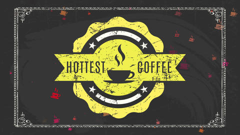 nordic hygge mood hottest coffee advertising with old-fashioned details on rounded symbol written Animation