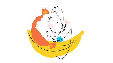 red headed girl with curly ponytails style hairdo floating on a banana boat on holidays at the beach Animation