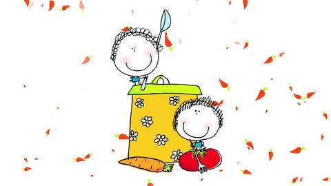 drawing of two young girls composing gradually posing besides a big pot with flowers pattern playing Animation