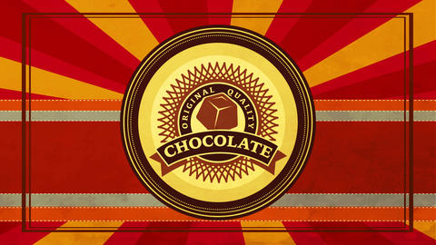 brand idea for original quality chocolate with delicious gourmet ingredients with vintage lettering Animation