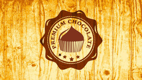 premium chocolate cupcake icon with brown melted color on light wooden texture surface giving Animation