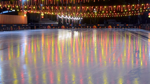 Car pours ice rink in the open air Live Action