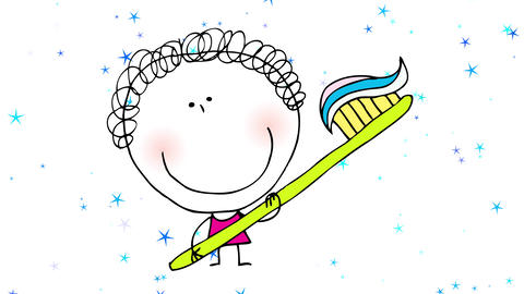 happy young girl playing with a toothbrush bigger than her on background with glowing stars Animation