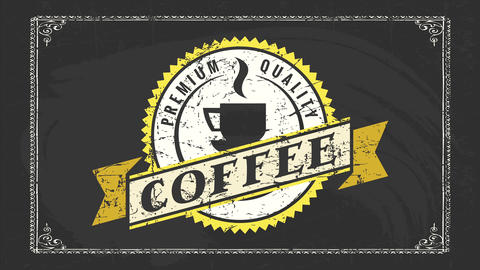 breakfast sign for best hot coffee or aromatic beverage with retro rounded icon for winter season Animation