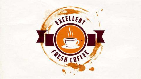 hot coffee cup graphic inside rounded icon with ribbon for excellent fresh product sold on Animation