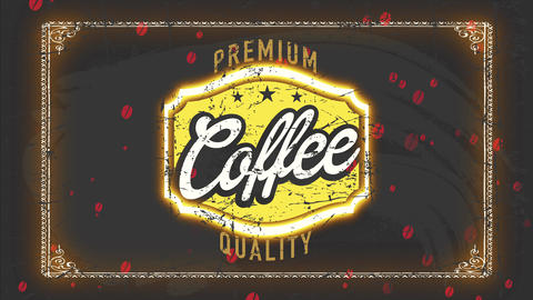 cafe store selling choose value good like coffee and tea with antique insignia and offset Animation