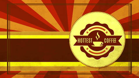 aged hottest coffee mark for meal cafe with metal texture badge on red sunbeam background Animation
