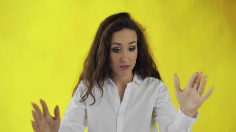 Young beautiful woman having headache Live Action