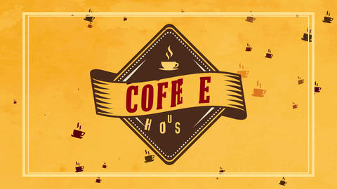 rhomboid coffee mansion mark with vintage part over colourful yellow background catching caffeine Animation