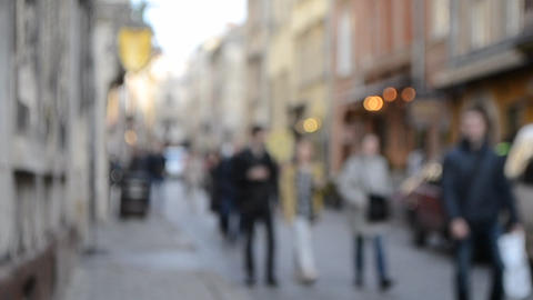 Abstract Defocused Blurred Background of many people on street square Live Action