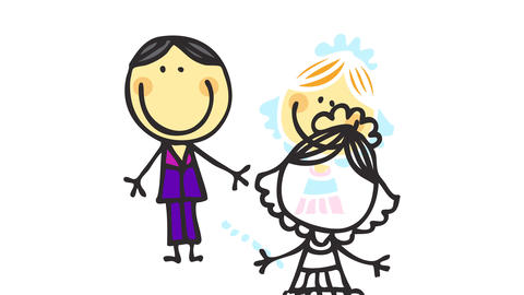 doodle of bride and groom wearing a cute little wedding dress and a purple suit posing for a picture Animation