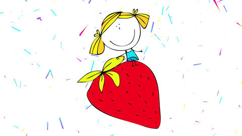 drawing forming in pieces of happy young girl dreaming with riding a big red strawberry over a Animation