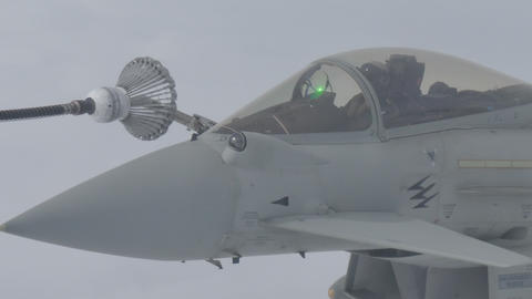 Close View of Military Aircraft Air Refueling Live Action