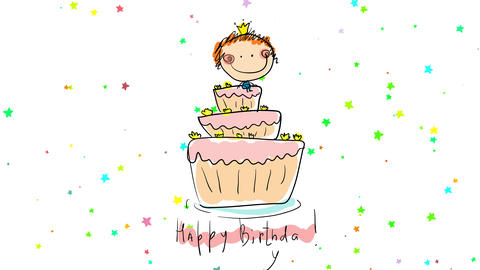 happy birthday girl dreaming with a fabulous party celebration with her sitting on top of appetizing Animation