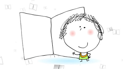 old woman pointing out to an open book bigger than her with dozens of similar books flying on the Animation