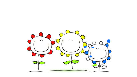 red yellow and blue petals falling into place on outline of three flowers with happy faces and Animation