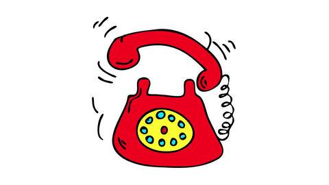 retro style red telephone with nostalgic feeling ringing energetically representing the urgency of Animation