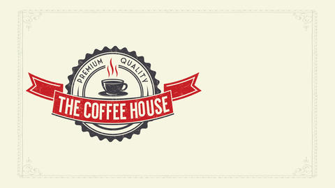 cafe shop brunch brochure with coffee mug symbol and formal ribbon with classic typeface Animation