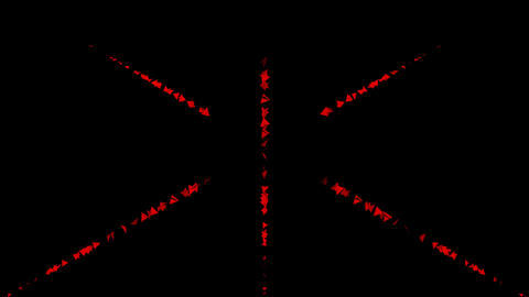 Moving cross lines of red triangles on a black background, abstract moving background Animation