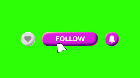 Grain Shaded Pink Like Follow and Notifications Buttons on Green Screen and Luma Matte Videos animados