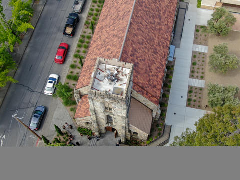 Aerial view of St. Helena Roman Catholic Church, historic church building in St Photo