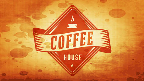 good morning coffee time rhomboid emblem for coffee shop with retro elements on dirty paper texture Animation