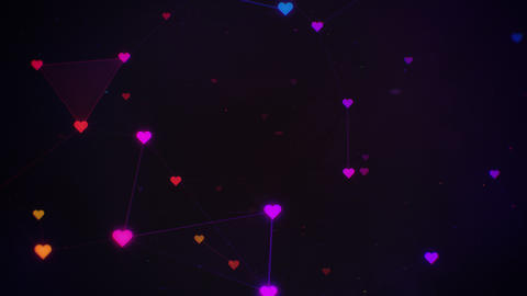 Rotating Colorful Plexus of Hearts and Flickering Particles CG動画