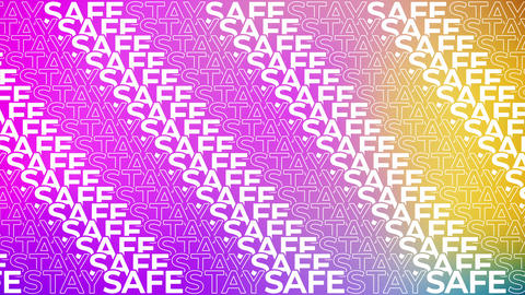 Typography Lines of Phrase STAY SAFE on Multicolored Backdrop Animation