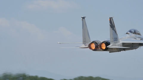 United States Air Force McDonnell F-15 Eagle ready to take off in Slow Motion Live Action