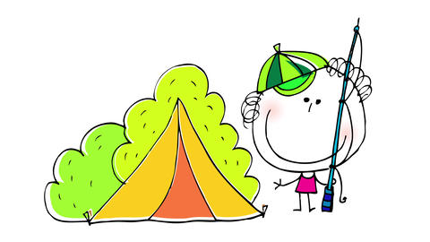 happy boy wearing a funny cap camping in nature with a tent behind him and holding a fishing rod Animation