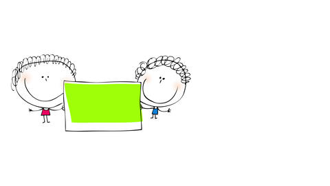 couple of kids holding a green square on the left side of the screen for a childrens advocacy Animation