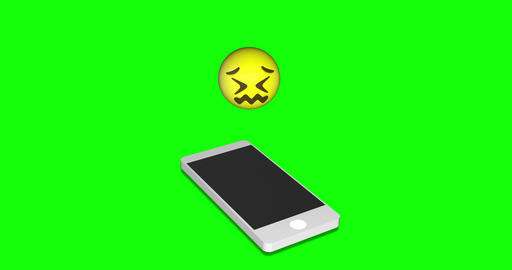 emoji stressed smartphone stressed confounded stressed emoji green screen smartphone green screen Animation
