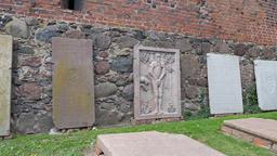 Malbork castle. Eastern Terrace, Cemetery. Modern tombstones 16-18 centuries Live Action