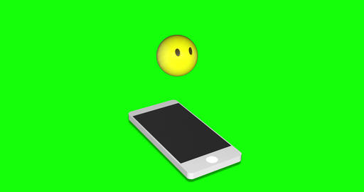 MAY 2020 USA:emoji silence smartphone silence no mouth silence emoji green screen smartphone green Animation