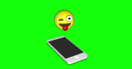 emoji attractive smartphone attractive tongue attractive emoji green screen smartphone green screen Animation