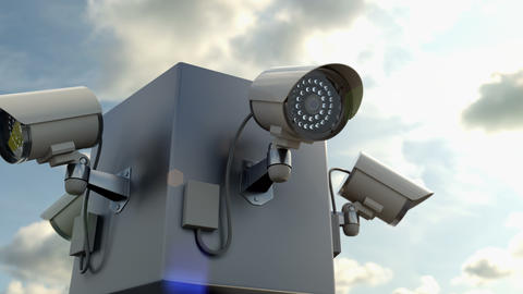 Outdoor security camera monitoring for people in the public place, 3d animation Live Action