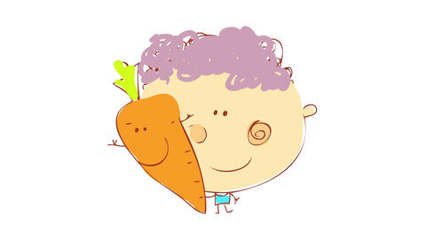 little boy with purple hair and cute pink dimples posing besides a live carrot with a friendly face Animation