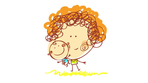 young mother with curly hair playing with her new born baby outside on backyard over green grass Animation