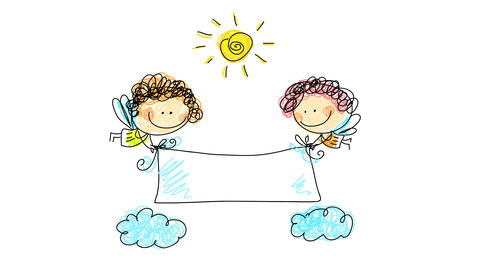 two baby angels flying under a spiral sun and over two clouds grabbing each tip of a white sheet Animation