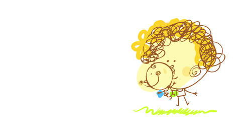 young sitter wearing green dress and red curly hair holding a baby boy on one arm suggesting they Animation