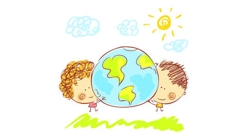 two healthy kids holding a globe walking on green grass under a sunny and cloudy sky suggesting they Animation