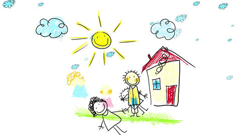 family of three moving out of an old house on a beautiful summer day with clouds moving slowly Animation