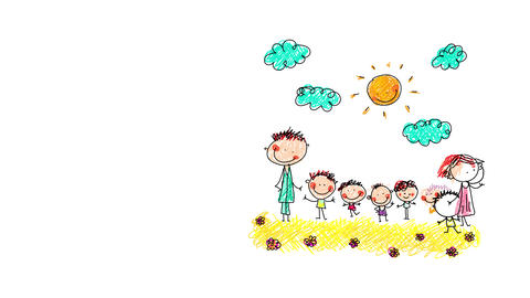 beautiful postcard image hand drawn by a kid with big happy family of seven waving and smiling to Animation