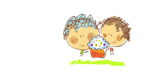 happy boy and girl decorating the last details of a big delicious cupcake with cream and Animation
